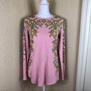 Euc Sundance waffle knit patterned pink top